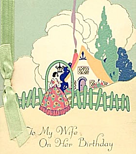 Vintage Birthday Card Cottage & Couple (Image1)