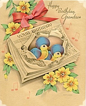 Vintage Birthday Card Bluebirds
