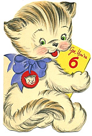Vintage Birthday Card 6 Year Old Cat
