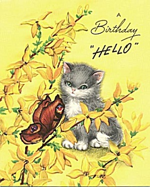 Vintage Birthday Card: Cat and Butterfly (Image1)
