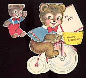 Vintage Birthday Cards: Bear On Tricycle, Bear And Frog