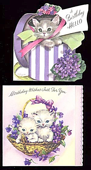 Vintage Birthday Cards 2 Cats In Basket Cat In Hatbox