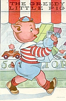 Vintage Child's Book The Greedy Little Pig (Image1)