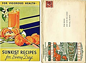 Sunkist Recipes For Every Day With Original Mailer