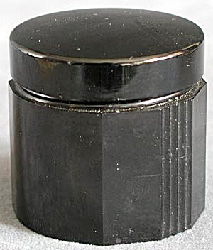Vintage Faceted Black Bakelite Round Covered Container