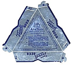 Tivoli Beer Triangular Cardboard Ashtray
