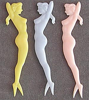 Vintage Nude Pin Up Girl Mermaid Appetizer Picks