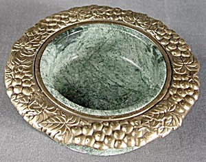 Green Marble and Brass Wine Bottle Coaster (Image1)