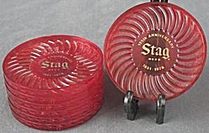 Vintage Stag Beer Red Plastic Coasters (Image1)