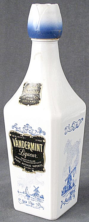Vandermint Liquor Bottle Blue White Windmill Scene