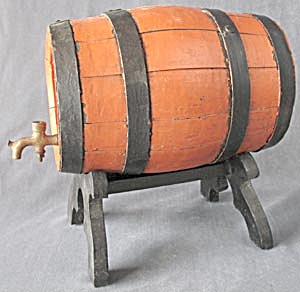 Vintage Painted Wooden Keg Barrel (Image1)