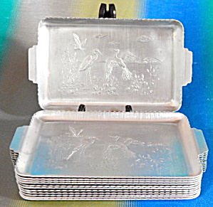 Vintage Aluminum Trays Embossed Heron Set Of 12