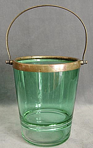 Vintage Austria Green Glass Ice Bucket