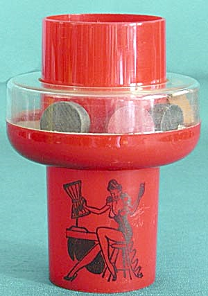 Vintage Red Souvenir Plastic Shaker Bar Glass (Image1)