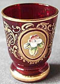 6 Ruby Red Liquor Glasses With Applied Flower And Gilt