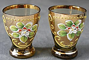 Amber Liquor Glass with Applied Flower and Gilt (Image1)