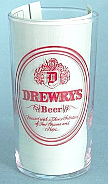 Vintage Drewrys Beer Glass Red on Clear (Image1)