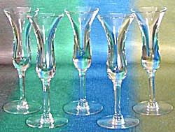 Vintage Tulip Liqueur Glasses Set Of 5