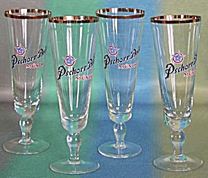 Vintage Pschorr Brau Beer Glasses Set Of 4