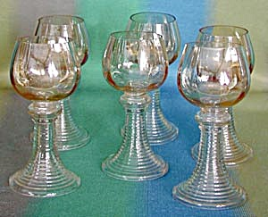 Vintage Honey Luster Rhine Glasses Set of 6 (Image1)