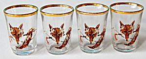 Vintage Red Fox With Hunting Whip Decor Shot Glasses