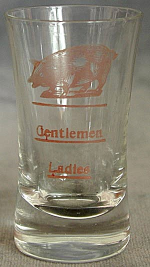 Etched Frosted Ladies Gentlemen Pig Shot Glass