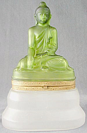 Vintage Green and White Satin Glass Buddha Decanter Set (Image1)