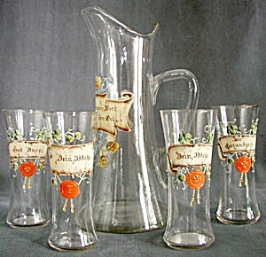 Vintage German Glass & Enamel Tankard & Glasses