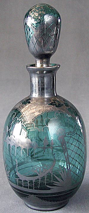 Vintage Teal Glass Sterling Silver Overlay Decanter (Image1)