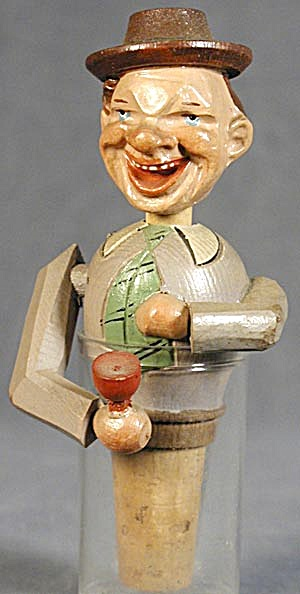 Vintage Anri: The Drinker, Hand Carved Bottle Stopper