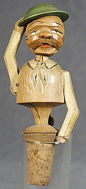 Vintage Anri:the Hat Tipper, Hand Carved Bottle Stopper