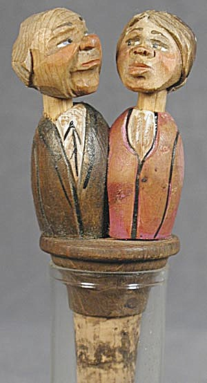 Vintage Anri: Elderly Kissing Couple, Bottle Stopper