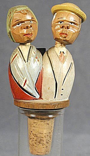 Vintage Anri: Kissing Couple,hand Carved Bottle Stopper