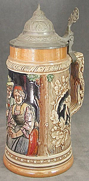 German Stein With Couple, Retrievers, Acorns Pewter Lid