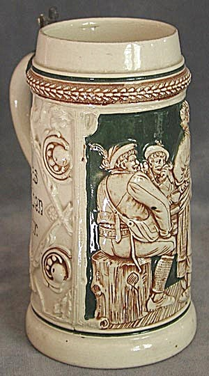 Vintage 2 Men & A Serving Girl German Stein (Image1)