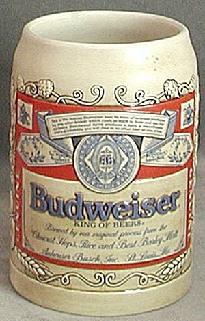 Budweiser stein made by ceramarte decanters jugs mugs pitchers stiens