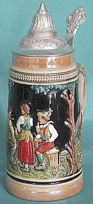 2 Men And A Women Stein With Pewter Lid