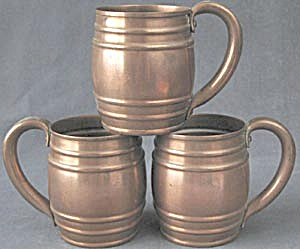 Vintage Solid Copper Mugs Set Of 3