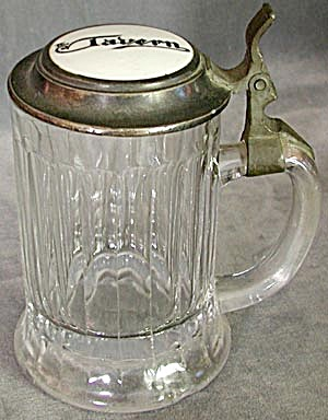 Vintage Glass Stein With Pewter Lid & Porcelain Insert