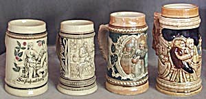 Vintage Group Of 4 Steins