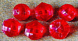 Vintage Red Glass Buttons Set Of 6