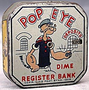 Vintage Popeye Metal Bank (Image1)