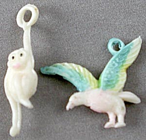 Vintage Celluloid Monkey & Bird Charms
