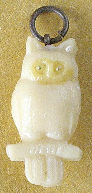 Vintage Celluloid Owl Charms Pair