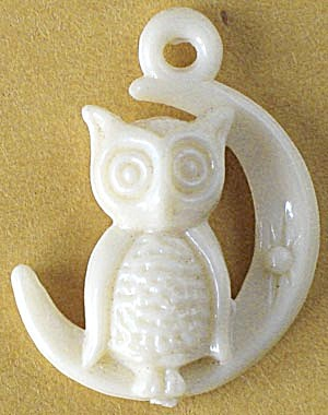 Vintage Owl Sitting On A Crescent Moon Charm