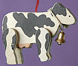 Wooden Cow Christmas Ornament (Image1)