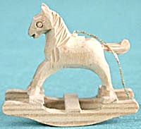 Carved Wooden Rocking Horse Christmas Ornament