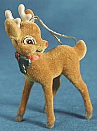 Vintage Flocked Rudolph The Red Nosed Reindeer Ornament