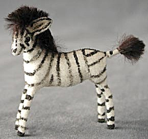Wagner Kunstlerschutz German Flocked Zebra Ornament