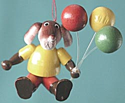 Vintage Wooden Dog & Balloons Christmas Ornament (Image1)